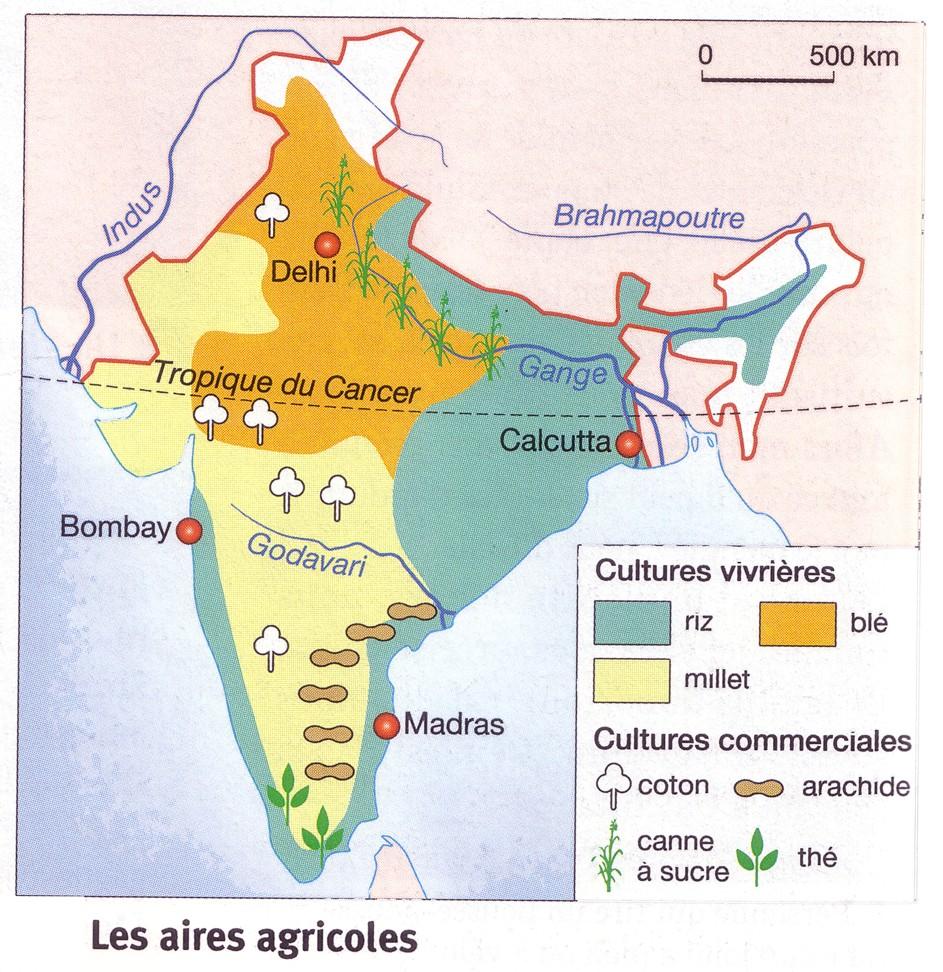 Carte des aires agricoles