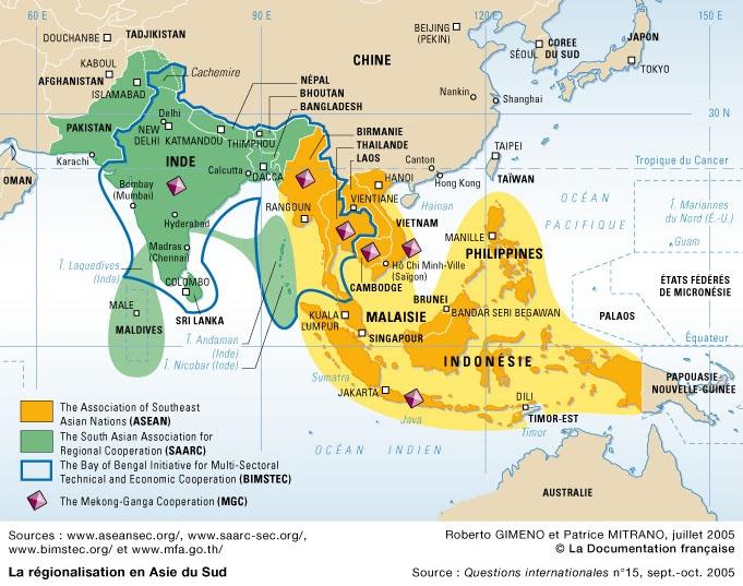 Carte des associations régionales pour le développement économique