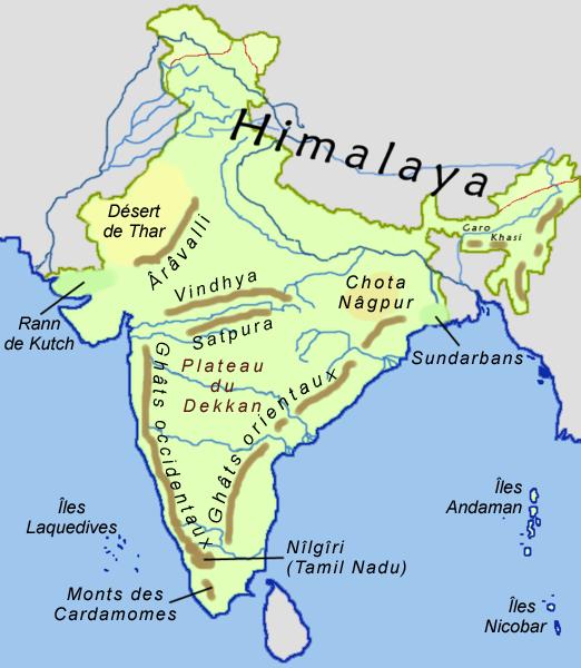 Inde, Carte des montagnes