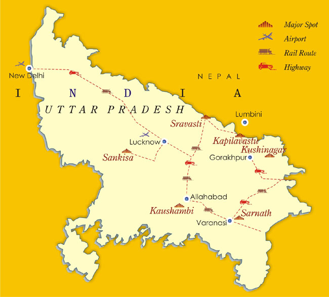 Carte de l'Uttar Pradesh